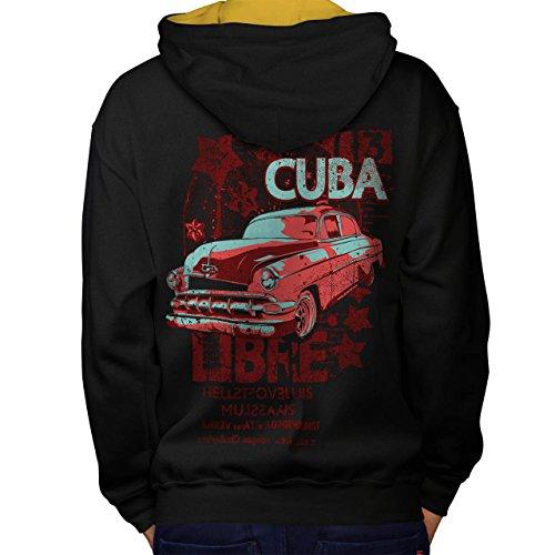 Kuba Libre Revolution Klasse Auto Men M Kontrast Kapuzenpullover Zurück | Wellcoda (Kuba Kostüm Für Männer)