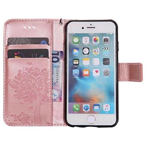 JIALUN-étui pour téléphone Avec la fente de carte, Lanyard, pression Belle patte Fashion Open Cell Phone Shell pour IPhone 6 6s 4.7 pouces ( Color : Gray ) Rosegold