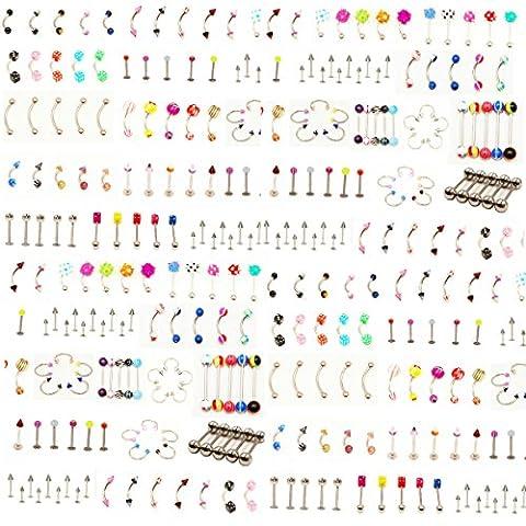 110 PCS 22 Styles Bijoux pour le corps Piercing sourcil Ombilic Barrette à lèvres pour la langue du