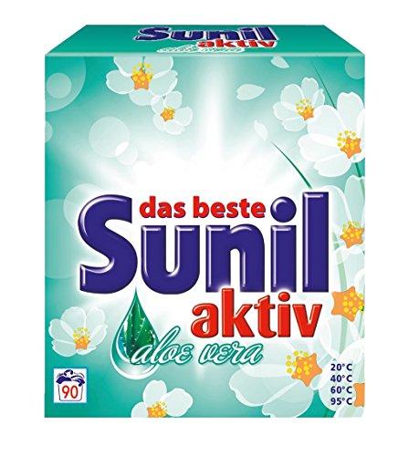 6er Vorteilspack Sunil Waschmittel Waschpulver aktiv Aloe Vera für 90 Anwendungen