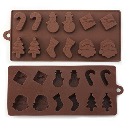 Christmas Shape Silicone Chocolate Mould Pack of 12 pcs in 1