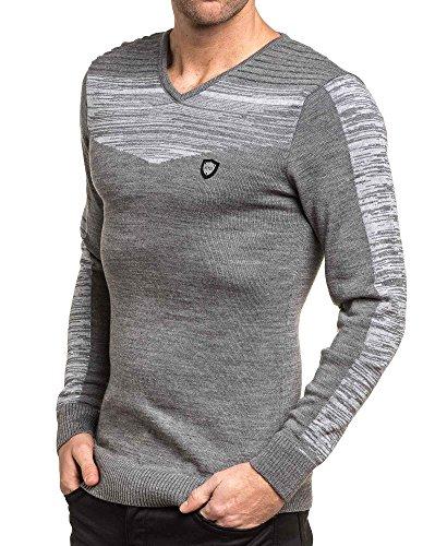 BLZ jeans - Pullover fin gris chiné col V Gris