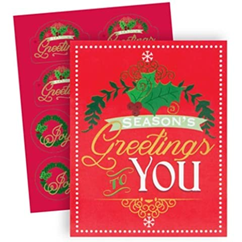 The Gift Wrap Company 20 Count Boxed Holiday Cards, Small, Golden Greetings, Multicolor by The Gift Wrap Company - Foil Envelope Seals Set