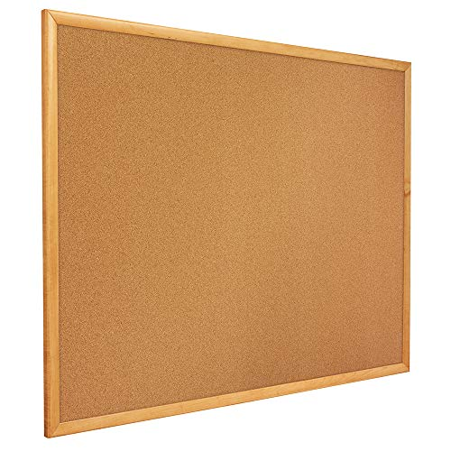 Oak Finish Media (Classic Slim Line Cork Bulletin Board, 12 x 36, Oak Finish Frame, Sold as 1 Each)