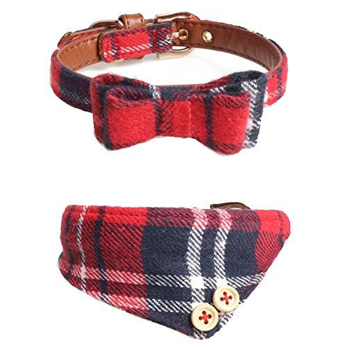 MLIN-keLy Hund Katze Halsbänder, Leder verstellbare Fliege und Kariertes Dreieck Bandana mit Glocke, Haustier Kragen Lätzchen Schal 2er Pack, schwarz rot -