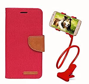 Aart Fancy Wallet Dairy Jeans Flip Case Cover for HTC826 (Red) + 360 Rotating Bed Moblie Phone Holder Universal Car Holder Stand Lazy Bed Desktop by Aart store.