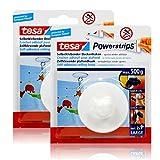 2x tesa Powerstrips Selbstklebender Deckenhaken - weiß für max. 500g Gewicht