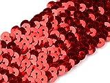 Stoffe-Online-Shop Stretch-Pailletten, Paillettenband, Paillettenborte elastisch, in schwarz, rot, Gold oder Silber erhältlich, Breite 45mm, VE: 1m (rot)