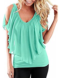 FIYOTE Womens Summer Casual Cold Shoulder V Neck Top T-Shirt Blouse