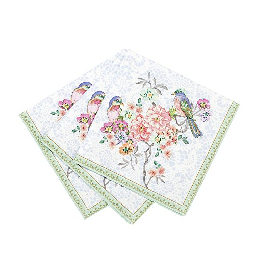 Papierservietten mit Blumen und Vögeln (Blumen-party-servietten)