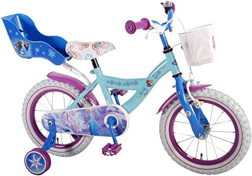 Kinderfahrrad Mädchen14 Zoll Disney Frozen mit Korb Vorne Puppensitz Hinten Stützräder Rosa Blau 95% Zusammengebaut