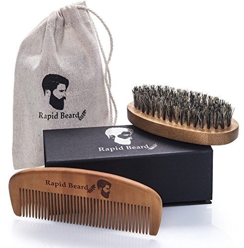 Cepillo para Barba Y Peine para Barba kit de cuidado Para Hombre – Set De Peine De Madera Hecho A Mano Y Cepillo Para Barba De Cerdas Naturales De Jabalí Para Barba de Hombre Y diseño de Bigote