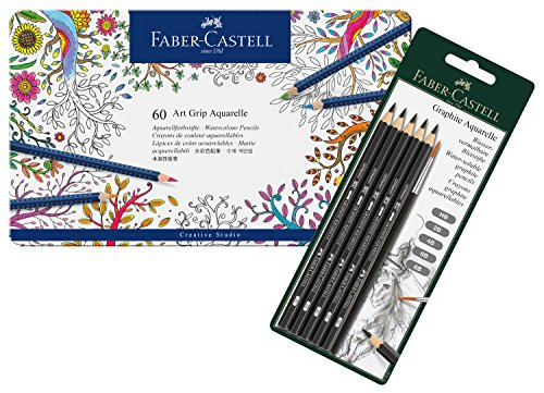 Faber-Castell 114294 - Aquastift Art Grip 60er Atelierbox und Aquarellbleistifte Graphite 5er