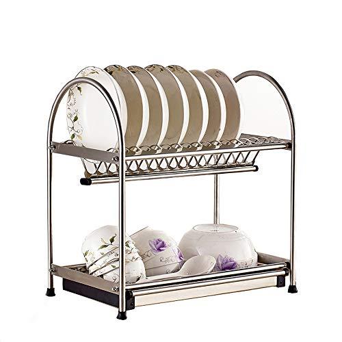 WHUA Edelstahl 2-Lagen-Abtropfgestell Abtropfgestell Küchenutensilien Geschirrgestelle Abtropfgestell Moderne Speicherorganisation mit