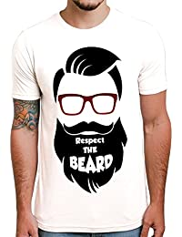 Ghantababajika Respect Beard White Round Neck Half Sleeves Printed Quotation T-shirt For Men`s