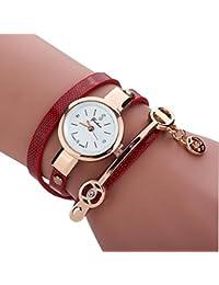 Kinlene Las mujeres correa de metal,de moda Cristal Mujer Reloj Cuero Correa (Red)