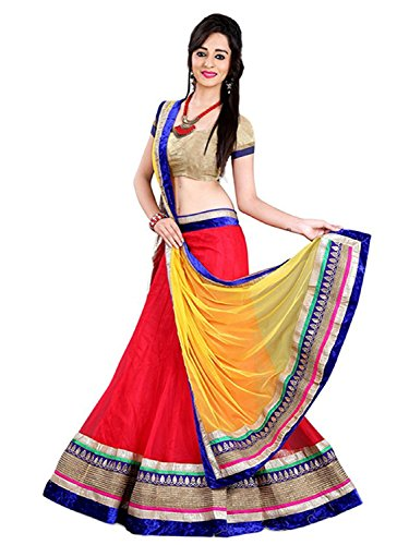 S R Fashion Lehenga Lehengha(Women's Latest Red And Yellow Color Semi-Stitched Girls...