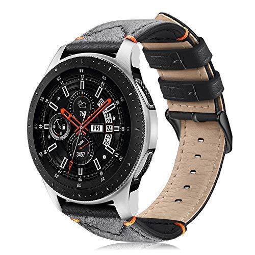 FINTIE Cinturino per Samsung Galaxy Watch 46mm /Gear S3 Frontier/Gear S3 Classic/Huawei Watch GT - Morbido Cinturini di Ricambio in Vera Pelle con Fermaglio Metallico, Nero