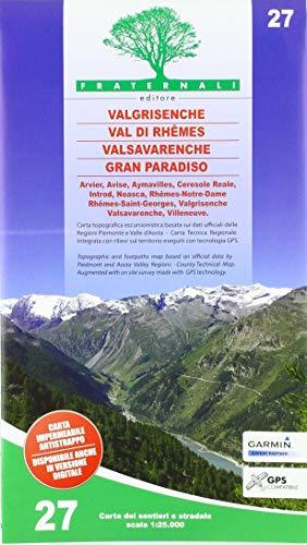 Carta n. 27. Valgrisenche, Val di Rhêmes, Valsavaranche, Gran Paradiso. 1:25.000