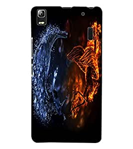 ColourCraft Fire and Ice Dragon Design Back Case Cover for LENOVO A7000 PLUS