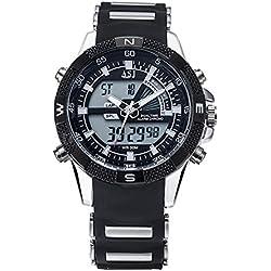 Men Wrist Watch - ASJ Men Dual Time Multifunction Sport Quartz Wrist Watch