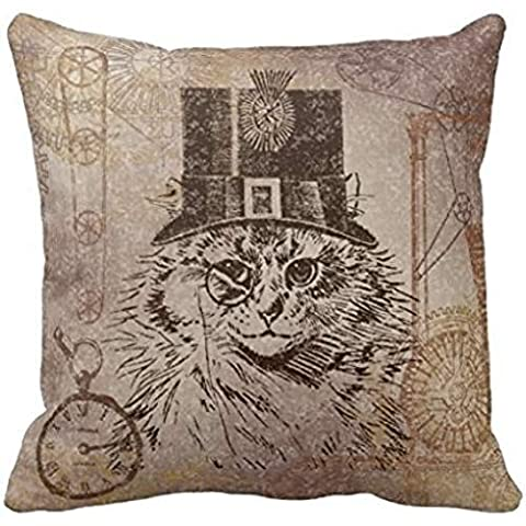 Steampunk Kitty Cat In Top Hat Gears Pocketwatch R184674dc96084c02a599082e2f772312 I5fqz 8byvr Pillow Case