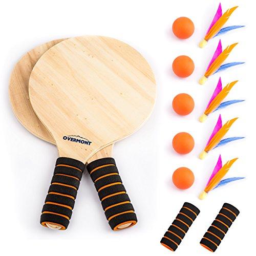 Overmont Juego kit de raquetas palas badminton de playa con volantes cricket juego y entrenamiento de familia niños oficina deporte al aire libre
