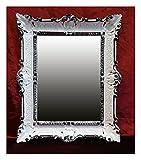 Lnxp Spiegel WANDSPIEGEL 56 x46 cm BAROCKSPIEGEL in Weiß Schwarz DUALCOLOR Renaissance Opulenter PRACHTVOLLER Nostalgie Antik Barock REPRO BAROCKSTIL