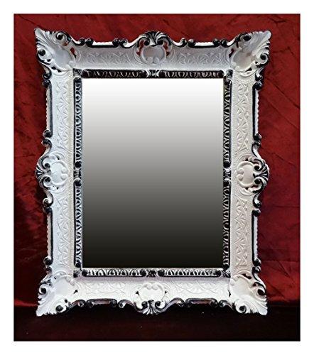 Lnxp Spiegel WANDSPIEGEL 56 x46 cm BAROCKSPIEGEL in Weiß Schwarz DUALCOLOR Renaissance Opulenter...
