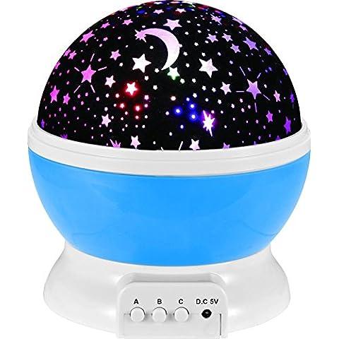 Rotazione Notte Stellata Luce 3 Modi Romantico Stella Cosmos Proiettore per Cameretta Regalo di Compleanno-Blu