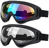 Skibrille,2 Pack Snowboard Goggles Skate Brille, Motorrad Radfahren Goggles für Kinder, Jungen und Mädchen, Jugend, Männer und Frauen, mit UV 400 Schutz, Windbeständigkeit, Blendschutzgläser (Multicolor / Grau)