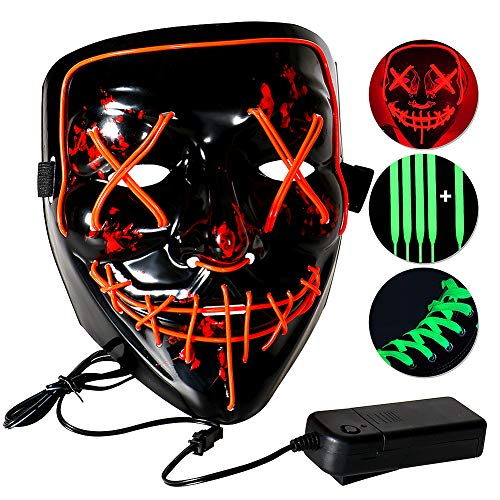 Casibecks LED Maske Halloween Maske für Erwachsene und Jugendliche Party zubehör (rot) (Schuhe Ball Masquerade)