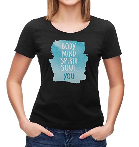 Kris Talas Spiritual T-Shirt | Body Mind Spirit Soul | Your T-Shirt | Meaningful inscription | Yoga Tee Woman t-Shirt Black