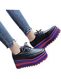 Damen Schuhe ABsoar Stiefel Damen Keilabsatz Schuhe Mode Frauen Erhöhen Freizeitschuhe High-Sohle Einzelne Schuhe Studenten Lace Up Casual Schuhe