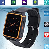 BANAUS®B2 IP68 Wasserdichte Sport Smart Watch Heart Rate Monitor Bluetooth 4.0 Nano-SIM Android/iOS for iPhone SE/6/6 Plus/6S/6S Plus/Samsung S5/S6/S7/Note5/Note6/LG/Xiaomi/Huawei/ZUK/HTC(Orange)