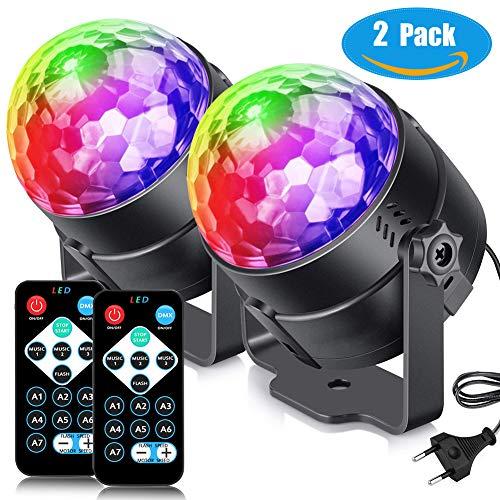 Macrourt Luces Discoteca Bola, LED Giratoria Luz de Etapa con Sonido Activado y Control Remoto