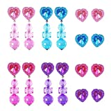 8 Pairs Clip-on Earrings Heart-Shaped Girls Play Earrings and Extra 8 Pairs Earring Pad for Play Princess Birthday Party Favor