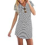 Internet Frauen Rundhalsausschnitt Kurzarm gestreift lose T-Shirt Mini Kleid (EU38(Asia L) )