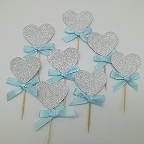 DOOXOO Silver Glitter Heart Cupcake Toppers with Blue Ribbon Bows. Bridal Shower Decor. Baby Shower. First Birthday Party. Gender Reveal ( Set of 12