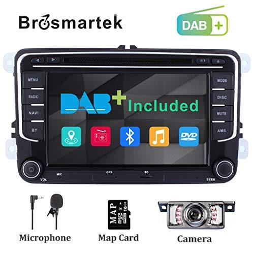Doppio DIN auto stereo radio DAB + (incluso) per VW Passat Polo Tiguan Jetta Golf Skoda Seat 17,8cm lettore DVD navigatore GPS Bluetooth supporto per parcheggio Swc video 1080p
