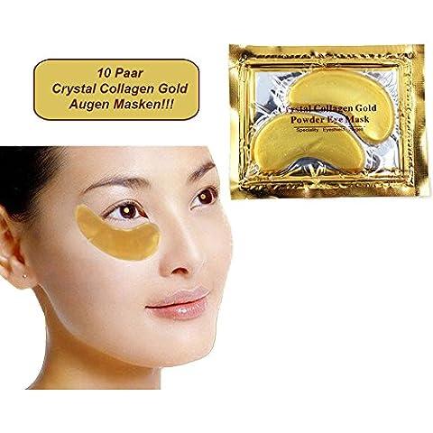 Juego de 10 - Almohadillas exclusivas para ojos Colágeno de Oro con ácidos hialurónicos - Mejor calidad de Schlupflid