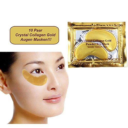 Juego de 10 - Almohadillas exclusivas para ojos Colágeno de Oro con ácidos hialurónicos - Mejor calidad de Schlupflid weg©