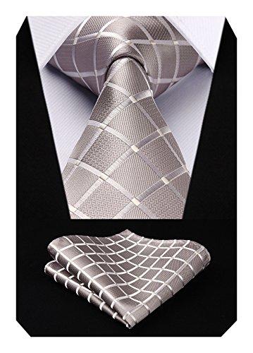 Hisdern Extra Long Check Krawatte Taschentuch Herren Krawatte & Einstecktuch Set Beige