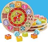 divertimento adatto ai bambini Giocattolo dell'orologio di legno educativo adorabile di tempo di apprendimento di numero di forme di colore giocattolo cognitivo animale per i bambini (motore)
