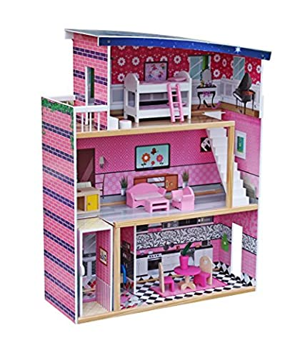 Deluxe Large Pink 3 Storey Wooden Doll House Pretend Role Playset with Furnitures and Accessories for Kids Children Girls