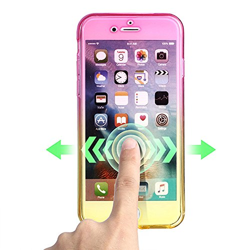 iPhone 6S Custodia, iPhone 6 Cover, ikasus iPhone 6S/6 TPU Full Body 360 ° trasparente Cover Custodia Silicone, Gradient Color gradiente Gel TPU Custodia Protettiva Case Cover Bumper Crystal Case Cust Rosa Lila