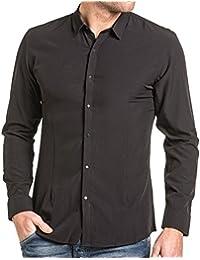 BLZ jeans - Chemise homme noire fluide à boutons pression
