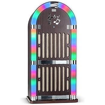 auna Memphis WD jukebox (radio FM, ingresso AUX, slot USB/SD per riprodurre file audio da dispositivi esterni, lettore CD, interfaccia Bluetooth, illuminazione a LED) - marrone