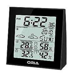 ORIA Funk Wetterstation Innen Außen Temperatur Feuchtigkeits Monitor Thermometer Wetterkanal Forecaster mit Hintergrundbeleuchtung und Temperaturalarm
