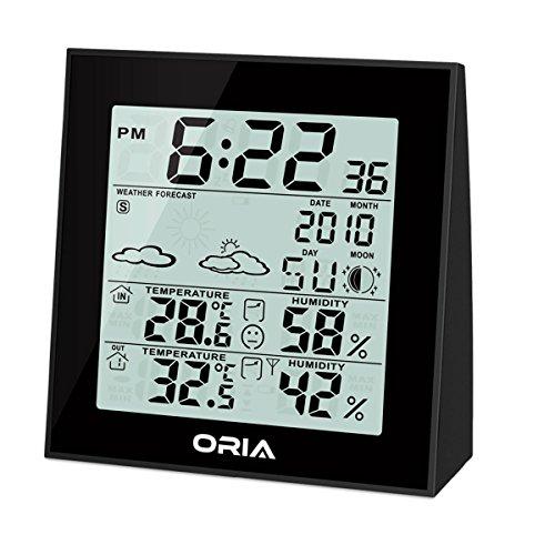 Oria-Funk-Wetterstation-Innen-Auen-Temperatur-Feuchtigkeits-Monitor-Thermometer-Wetterkanal-Forecaster-mit-Hintergrundbeleuchtung-und-Temperaturalarm